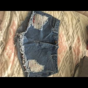 Forever 21 Distressed Plaid Jean Shorts